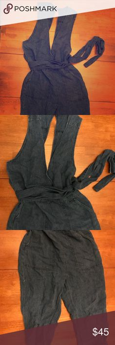Free People Denim Overalls Only worn twice, these soft denim overalls are oversized and comfy.  Button in back on the top....long tie (wrap it twice)....pockets in front and back!  Easily dress these up or down! Free People Pants Jumpsuits & Rompers