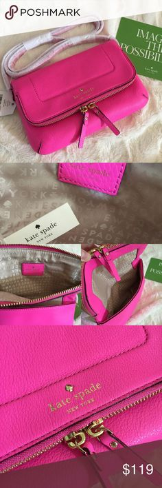 "Kate spade Mariana Mansfield Crossbody A 100 % Authentic Kate spade crossbody bag.  Soft pebble leather. Magnetic flap and two-way top zip closure. Signature lining. Dimensions: 5.3"" H x 8.7"" Wx 1.1""D.   PRICE FIRM. NO HOLD kate spade Bags Crossbody Bags"