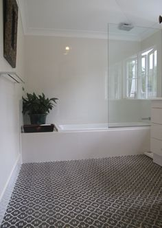 Nice feel to the bathroom - would be nice to have a border/edging tile, with these within the framework
