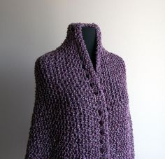 Hand Knit Lilac Triangle Prayer Meditation Comfort Shawl Wrap Bed Jacket Soft and Comfy by PeacefulPath, $62.00