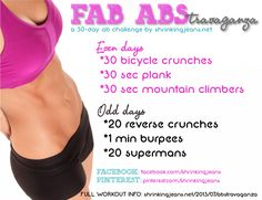 Fab Abstravaganza! 30-Day Ab Challenge by @shrinkingjeans. #fitness #workout #abs #healthy #exercise Find more monthly workout calendars her...