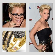Jenny McCarthy was seen on the red carpet of the 40th Anniversary American Music Awards held at Nokia Theatre L.A. Live on November 18, 2012 in Los Angeles wearing Demarco Designer Jewelry. Jenny McCarthy was wearing a glittery black and gold outfit and rocking a matching Demarco diamond snake ring.