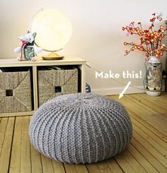 DIY knitted floor pouf