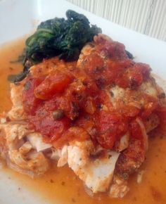 Greek style rock fish - this sauce for this easy recipe has bold, delicious Greek flavor.  The sauce would be good on its own (and could be used for a vegan dish).
