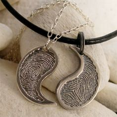 His & Hers Yin Yang Necklace Set, Silver Fingerprint Jewelry, Personalized Silver Yin Yang Matching Couples Necklaces, Anniversary Jewelry via Etsy