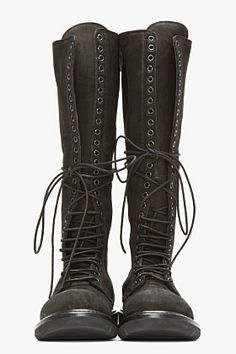 RICK OWENS Black Nubuck & Leather Knee High Lace-Up Combat Boots... I must have these!