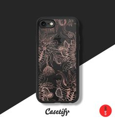 Casetify iPhone 7 Case and Other iPhone Covers - Glamorous Faux Rose Gold Floral and Leaves by designer BlackStrawberry | #Casetify