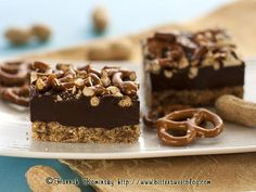 Peanut Butter Fudge Pretzel Bars #vegan