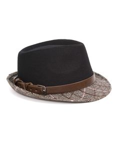 Black & Brown Plaid Wool Fedora | zulily