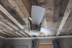 Pallet Wood Ceiling - Gorgeous!   Full Tutorial  http://www.remodelaholic.com/2012/02/pallet-ceiling-tutorial/