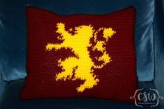Crochet Pillow with ASOIAF Lannister Sigil. Show your Game of Thrones House…