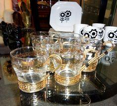 Set of six Greek key coffee mugs. $125