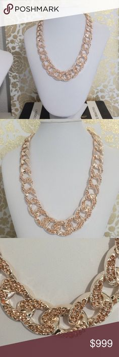 Champagne gold pave crystal necklace Champagne colored, crystal encrusted pave necklace. This is so beautiful  and simple. Looks great to dress up a basic tee or scoop neck for the office! All plated materials, no lead. Jewelry Necklaces
