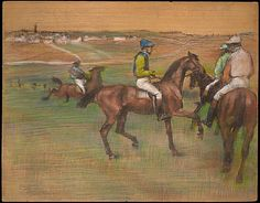 Edgar Degas (French, 1834–1917). Race Horses, ca. 1885–88. The Metropolitan Museum of Art, New York. The Walter H. and Leonore Annenberg Collection, Gift of Walter H. and Leonore Annenberg, 1999, Bequest of Walter H. Annenberg, 2002 (1999.288.3) | Degas undertook racing scenes throughout his career, characteristically manipulating his horses and jockeys from one picture to the next. #horses