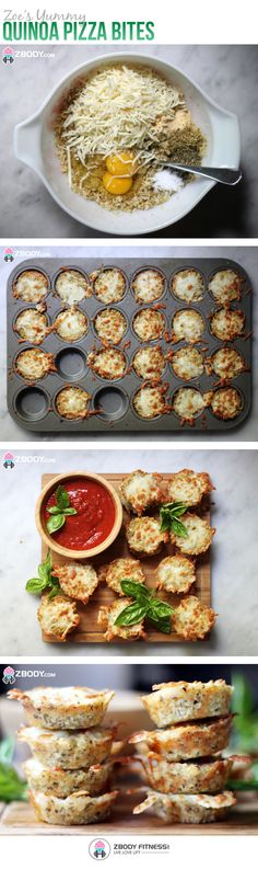 Gluten free Quinoa Pizza Bites, how cool! Vegetarian Recipes, Cooking Recipes, Healthy Recipes, Quinoa Pizza Bites, Sans Gluten, Gluten Free, Clean Eating, Healthy Eating, Good Food