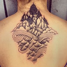 The Sea and The Mountains | Geometric Landscape Tattoo