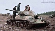 RUSSIAN T-34 TANK CAPTURED by the GERMAN ARMY in 1944