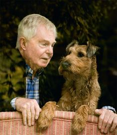 Derek Jacobi and his Irish Terrier, Bella
