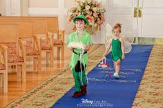 Adorable Peter Pan ring bearer and Tinkerbell flower girl