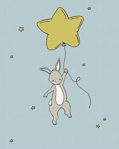 Star Bunny Nursery Art  Bunny Star Balloon  by SweetMelodyDesigns, $10.00