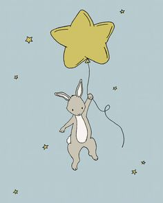 Star Bunny Nursery Art  Bunny Star Balloon  by SweetMelodyDesigns, $10.00