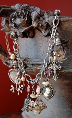 Collageantique vintage french charm assemblage by Opaline1214, $205.00