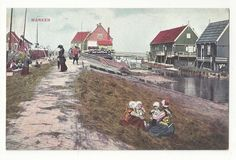 Netherlands Marken Children Playing in Hay by Canal Vtg Postcard c 1910