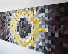 Kostenloser Versand. Holz-Wand-Kunst, Altholz Holzkunst, Mosaik, Holzkunst, geometrische Wandkunst, Holzkunst, Holzplatte