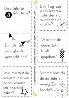 Silvester-Partyspiel, Tischdeko, Silvester & Freunde, Fragen für Silvester My favorite New Year's Eve party game, just cut out questions and put them on the table. Questions For Friends, This Or That Questions, Diy Silvester, New Years Eve Quotes, New Years Eve Makeup, Diy Crafts To Do, Decoration Table, New Years Eve Party, Party Games