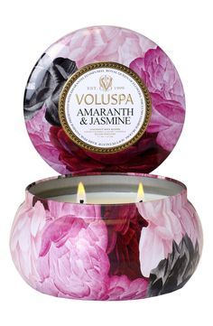 Lush, rare pink jasmine mingles with essential oil-infused amaranth to create the warm scent of the Voluspa candle.
