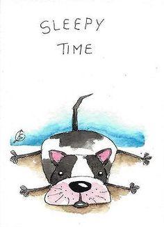 ACEO Original Pintura Aquarela Caprichoso Animal Sleepy Cachorrinho