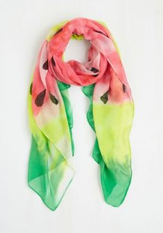 In a Picnic World Scarf. Ideally, every season would be summer and you could sport this ombre scarf to a picnic per day. Watermelon Centerpiece, Watermelon Crafts, Watermelon Costume, Shoe Cupcakes, Bowling Shoes, Puffy Paint, Vintage Scarf, Modcloth, Womens Scarves