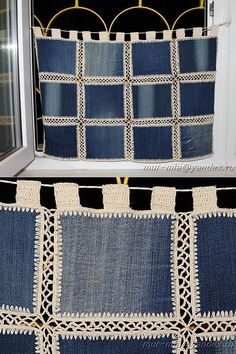 Diy Crafts - SewingBagscute,SewingBagsman-New life to old things - Jeans curtains -- La vida nueva a las cosas viejas – los visillos Jeans – New life Diy Crafts New, Diy Crafts Knitting, Diy Crafts Crochet, Crochet Bedspread, Crochet Quilt, Crochet Stitches, Crochet Patterns, Jean Crafts, Denim Crafts