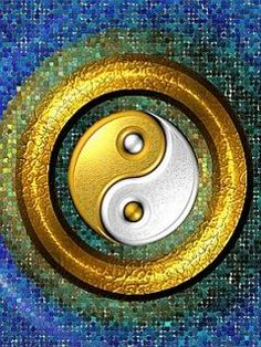 Yin-Yang Golden Ring and Blue Mosaic - computer generated image Tarot, Yin Yang Balance, Yin Yang Art, Chinese Philosophy, Blue Mosaic, Qi Gong, Chinese Medicine, Yin Yoga, Feng Shui