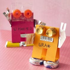 cute robots .  if you decorate it with hearts and valentine it up it can be a cute valentine treat !