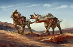 Two Scalloped Oxen (better name pending) face off over a territorial dispute. A paintover of some zbrush sculpts I've been working on.The Scalloped Oxen are large reptilian omnivores distantly rela...