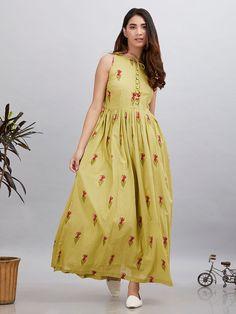 Olive Green Magenta Cotton Mulmul Sleeveless Dress