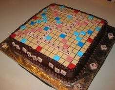 Scrabble birthday cake.