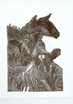 Hand pulled limited edition linocut print of by BabsPeaseDesign, $72.00