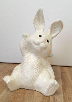 Vintage Easter Bunny with Egg Porcelain Ceramic Decorative Planter
