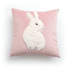 Simple Modern Patch Embroidered Rabbit Velvet Pink Pillow Cover ($26) ❤ liked on Polyvore featuring home, home decor, throw pillows, pillow, bunnies, decor, easter egg, cotton/linen pillows, filler and home textiles