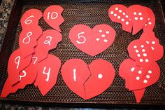 DIY foam number match game. Fun Valentine's math center for preschoolers.