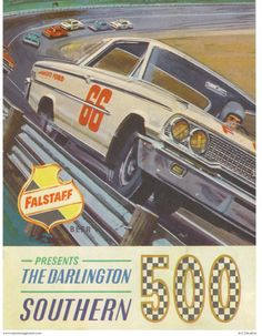 Vintage Reproduction Racing Poster 1962 Falstaff beer Southern 500 - Fitness and Exercises, Outdoor Sport and Winter Sport Fox Racing, Vespa Racing, Go Kart Racing, Cafe Racing, Slot Car Racing, Nascar Racing, Drag Racing, Auto Racing, Martini Racing