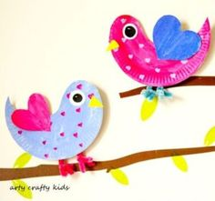 Paper Plate Love Birds   14 DIY Valentine's Day Crafts For The Kids