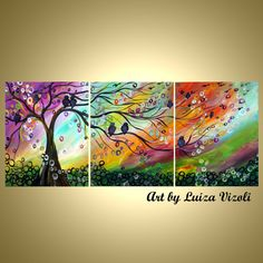 Original Modern Abstract SPRING MUSIC Fantasy Whimsical Birds Landscape Painting Triptych Artwork by Luiza Vizoli