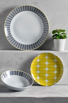 Let's add a pop of colour to the table. This dinner set is made from durable porcelain which is ideal for everyday dining. We love the geo print with a little colour coming from the side plate. 4 x Dinner Plate, Side Plate and 4 x Bowl Porcelain. Yellow Dinnerware, Kitchenware, Tableware, Side Plates, Dinner Sets, Next Uk, Kitchen Accessories, Uk Online, Dinner Plates