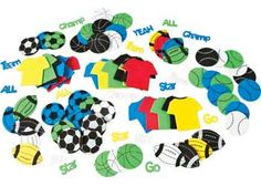 Foam Sport Shapes. Create your own team with these printed sport shape t-shirts, balls and words.