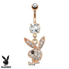 Your place to buy and sell all things handmade - Rose Gold Plated Paved Gems Playboy Bunny Dangle Belly Navel Ring Body Jewelry - Cute Belly Rings, Dangle Belly Rings, Belly Button Rings, Nose Rings, Summer Belly Rings, Daith Piercing, Bellybutton Piercings, Cartilage Piercings, Cartilage Earrings