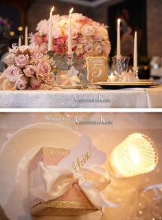 Gorgeous wedding table design with light blush and ivory