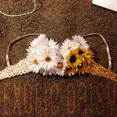 Gorgeous flower sparkle rave bra by ExoticDaisy on Etsy